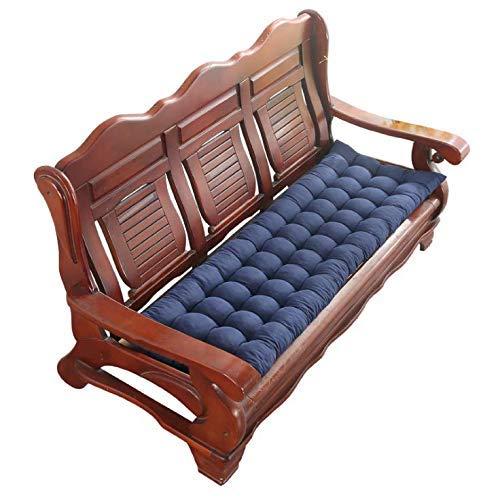 Luckyrainbow, Cojín de banco de 1/2/3 plazas, cojín de algodón para banco de jardín, cojín largo de mesa de cocina, cojín para interior y exterior (azul marino, 48 x 160 cm)