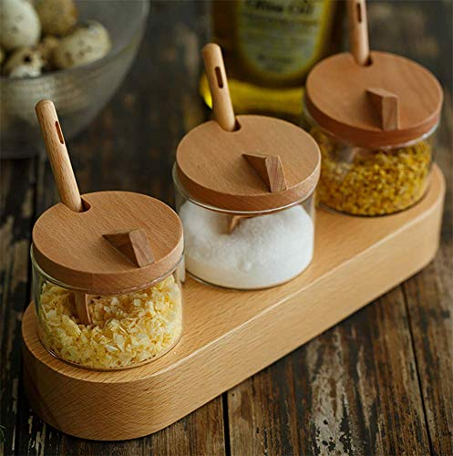 ZYNWW Glass Condiment Jar Spice Container with Lids - Bamboo Cap, Bamboo Serving Spoon, Wooden Tray - Best Glass Cruet Pot for Your Home, Kitchen, Counter. White,200 ML, Set of 3.
