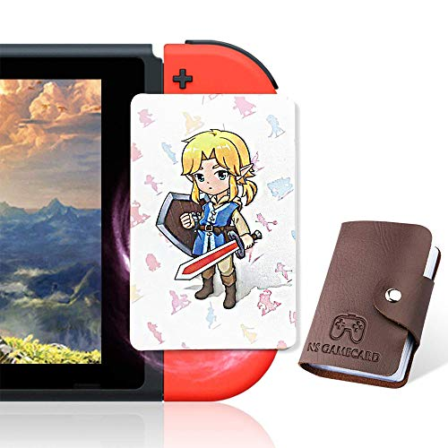 24 Pcs NFC Tag Game Cards for The Legend of Zelda Breath of The Wild (Botw), TLOZ Series NFC Tag Game Cards, Portable Leather Holder with Young Link & Link