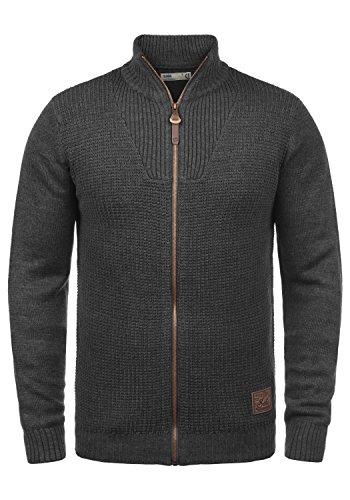 !Solid Tristian Herren Strickjacke Cardigan Feinstrick Mit Stehkragen Und Reißverschluss, Größe:XL, Farbe:Dark Grey Melange (8288)