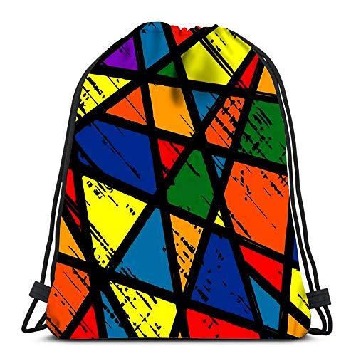 Borse con Coulisse Zaino Finestra in Vetro colorato Grunge Zaini da Viaggio in Mosaico colorato Zaino Scuola Tote
