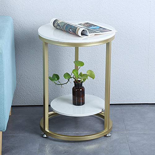 Round Coffee Table For Living Room Faux White Marble Top Gold Base Modern Metal Frame Coffee Table With Storage Coffee Table Set Side Tables For Small Spaces Buy Online In Aruba At Aruba Desertcart Com Productid