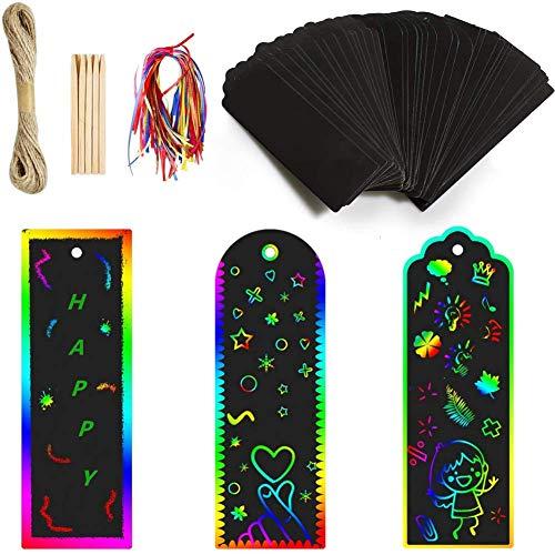 Wuudi Juego de 45 marcapáginas de papel con diseño de arcoíris para manualidades, para leer, aprender pedagógico, actividades escolares, oficina, profesores, estudiantes, niños