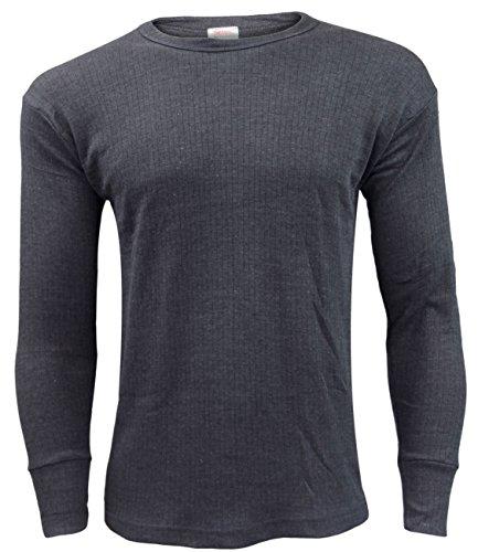 Gaffer Men Thermal Long Sleeve T Shirt Top Charcoal 2XL