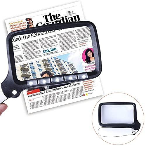 LiRuiPengBJ Lupas con 5 Luces LED para Leer, Lupa de Mano Plegable 2X, para Ayudas Visuales para Personas con Problemas de Visión Y Baja Visión, para Periódicos Mapas Joyas Pasatiempos Y Manualidades