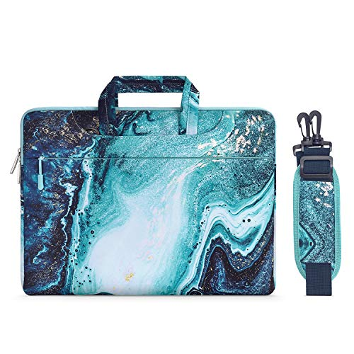 MOSISO Laptop Shoulder Briefcase Bag Compatible with 2019 MacBook Pro 16 inch A2141, 15-15.6 inch MacBook Pro 2012-2019, Notebook, Canvas Marble Pattern Carrying Handbag Sleeve Case Cover, Blue & Gold