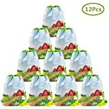Cieovo 12 Pack Farm Animal Party Favor Bags, Barnyard Gift Treat Goody Drawstring Backpacks Centerpiece Decorations for Farm Theme Kids Birthday Baby Shower Classroom Party Supplies
