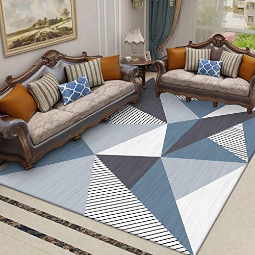 Alfombra Moderna Gran decoración del hogar Triángulo Tridimensional de Rayas Azules, Grises y Blancas. Usado para Dormitorio Sala de Estar Restaurante Alfombra 80x200cm