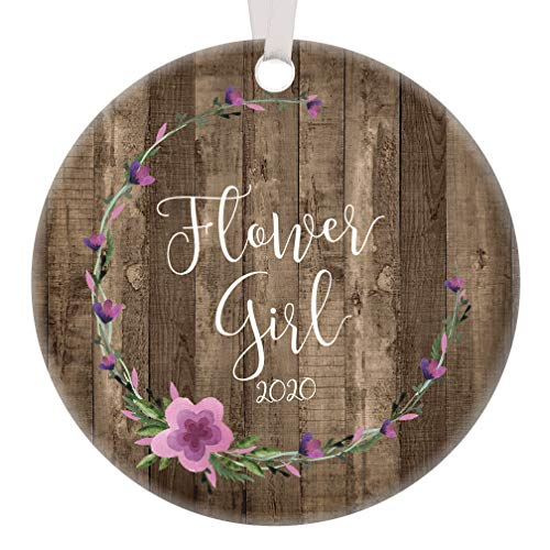 """Flower Girl Proposal Ornament 2020 Bridal Party Christmas Gift Young Sister Niece Goddaughter Wedding Keepsake Shower Present Idea Pretty Purple Floral Rustic Tree Decoration 3"""" Flat Circle Memento"""