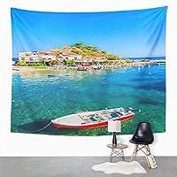 タペストリーギリシャのコッカリ湾サモス島の漁船北欧風壁掛けインテリア 多機能 部屋や窓の飾り リビングルーム ベッドルーム 壁飾り 個性プレゼント130cm x 150cm