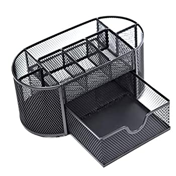 Mesh Pen Organizer for Desk,Multifunctional Pen Holders Organizers,Multifunctional Workspace Supply Organizers Stationery Storage 9 in 1 for Office Home,School,Classroom (Black)Deli