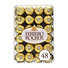 Ferrero Rocher Fine Hazelnut Chocolates Valentine's Day Gift Box, 48 Count Individually Wrapped Candy, 600 grams
