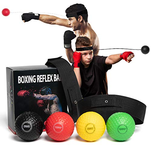 OLIKER Boxing Reflex Ball Family Pack Plus 2 Adjustable Headband React Reflex Ball for Adults and Kids 3 Difficulty Level Punching Speed Fight Skill and Hand Eye Coordination Training