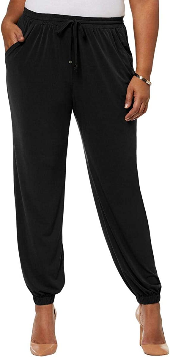 NY Collection Womens Plus Day to Night Casual Jogger Pants Black 2X