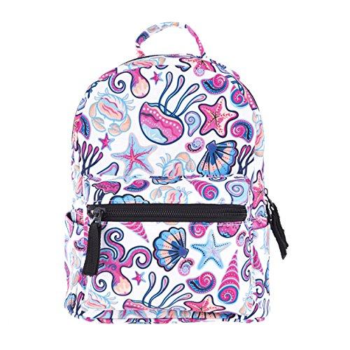 FRINGOO Girls Mini Backpack Casual Daypack Rucksack Travel Shoulder Small Bag Cute Fashion Funky (Ocean Shells - mini)