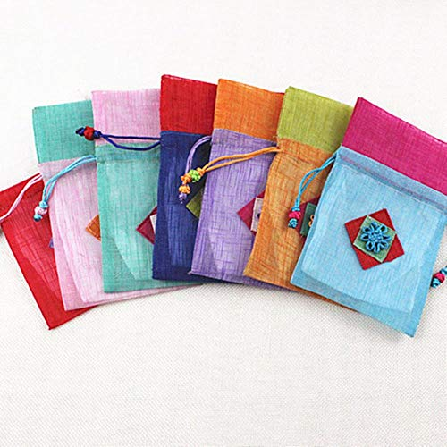 UIXIYIMG 10x15cm Kordelzug Geschenke Taschen Koreanische Version Multicolor Stitching Parfüm Schmuckbeutel Chinese Knot Style Bag Pouch 30 Stück/Los, zufällig, 10x15cm
