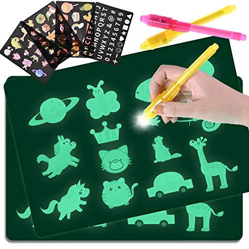 GOLDGE Lavagna Magica da Disegno con Luce, 2 Pezzi Lavagna Luminosa per Bambini, 4 Stencil e 2 Penne, Giocattolo Educativo per Compleanno e Natale Regali