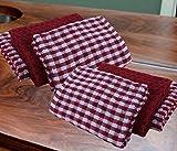 Casabella - Juego de 6 paños de cocina de algodón de rizo, algodón, Rojo, 6...