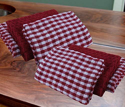 Casabella - Juego de 6 paños de cocina de algodón de rizo, algodón, Rojo, 6 Pieces Set