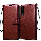 Frazil Vintage Leather Flip Cover Case for Samsung Galaxy A50/A50s/A30s | Inner TPU | Foldable Stand | Wallet Card Slots - Chestnut Brown