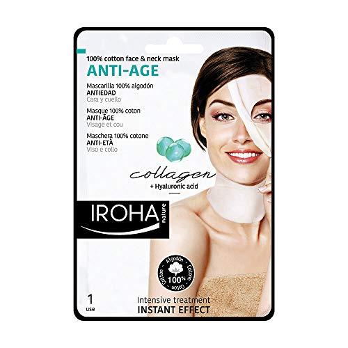 Iroha Nature Maschera viso e collo in Cotone con Collagene, 1 unità