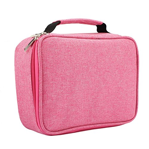 Colored Pencil Case Holder Zipper Pens Pencil Case- Multi-Functional Stationery Pencil Pouch 72 Slots Colored Portable Pencil Case Bags with 2 Removable Sleeves for Office College School (Pink)