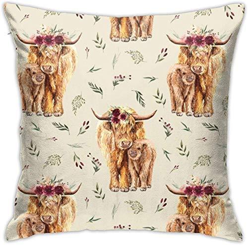 Funda de cojín Highland con estampado floral de vaca en color marrón claro, decoración diaria, funda nórdica, funda de almohada, sofá, dormitorio, coche, funda de cojín, funda de almoha 17×17pulgada