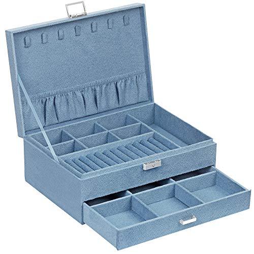 SONGMICS Caja Joyero, Estuche de Joyas, 2 Niveles con un Cajón y Llave, para Anillo Collar Reloj Pendiente, Azul Claro JBC156Q01