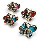 Kavya®, clip per capelli a forma di farfalla, stile antico, con fiore, stile francese, vintage, in metallo, accessori per capelli, mini artigli e ragni, 4 pezzi
