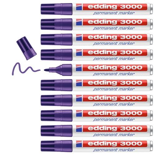 Edding 3000 marcador permanente - violeta - 10 rotuladores - punta redonda 1.5-3 mm - indeleble de secado rápido - resistente al agua y a los borrones - cartón, plástico, madera, metal - universal