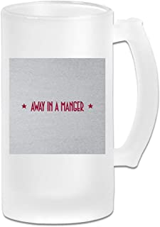 Printed 16oz Frosted Glass Beer Stein Mug Cup - Red Text Away In A Manger PRET A Manger Christmas - Graphic Mug