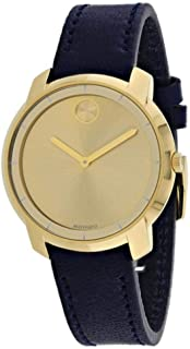 Bold Yellow Gold Sunray Dial Ladies Leather Watch 3600474