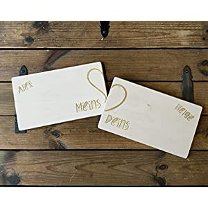 2 Personalisierte Frühstücksbrettchen/Partnerbrettchen aus Holz | Brettchen personalisiert mit Namen für Hochzeit…