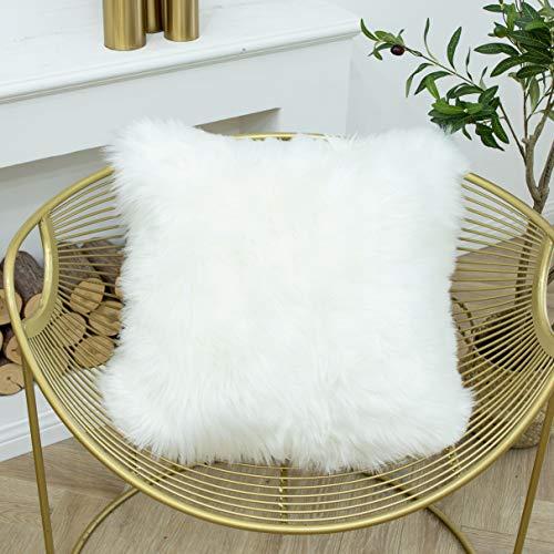 LIGICKY - Funda de almohada de piel sintética suave, cuadrada, decorativa, de felpa, para sofá, cama, 45,7 x 45,7 cm, color blanco