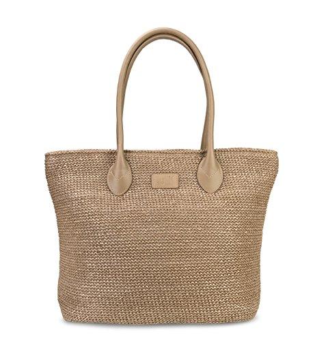 Hoxis Weekender Lightweight Synthetic Straw Shopper Tote Womens Shoulder Handbag (Tan)