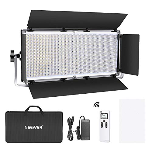 Neewer Advanced 2.4G 1904 LED Video Light, Dimmable Bi-Color LED Panel with LCD Screen, Barndoor and U-Bracket and 2.4G Wireless Remote for Portrait Product Photography, Studio Video Shooting