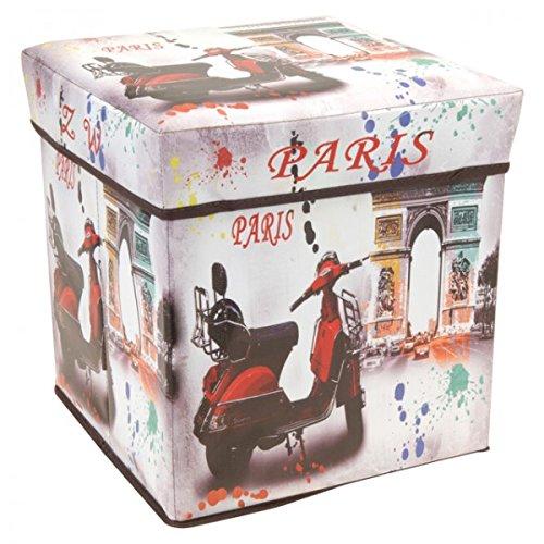 Stabile & faltbare Aufbewahrungsbox mit Motiv London Paris USA UK Flagge Hocker Stauraumbox Stuhl , Variante:Paris