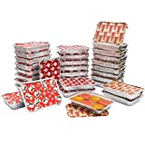 Bandejas Aluminio Desechables con Tapas (36 Piezas) 19 x 13,5 x 3 cm Bandeja Horno Aluminio con Tapas con Estampado de Navidad- Molde Comida para Llevar Galletas, Pasteles, Carne, Ensaladas y Postres