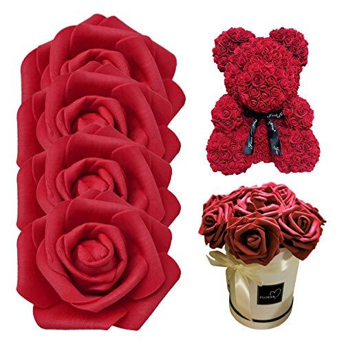 Künstliche Blumen Rosen,50 Stück Künstliche Rosen Blumen Schaumrosen Foamrosen Kunstblumen Rosenköpfe Gefälschte Kunstrose Rose Künstliche Blume Schaum Rosenköpfe für Hochzeitsfeier Dekoration (Red)
