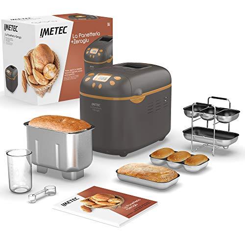 Imetec Panificadora +Zeroglu, máquina para hacer pan sin gluten también, pasteles, mermelada, masa de pizza, 16 programas automáticos, capacidad de 1 kg, 3 niveles de tostado, libro de recetas