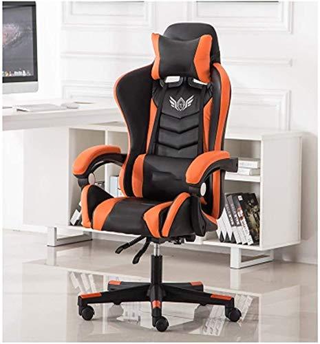 Rollsnownow Computer-Spiel-Stuhl Ergonomischer Bürostuhl Günstige Schreibtisch Stuhl mit Lordosenstütze Flip Up Arme Kopfstütze PU-Leder-Vorstand High Back Chair Computer Sessel