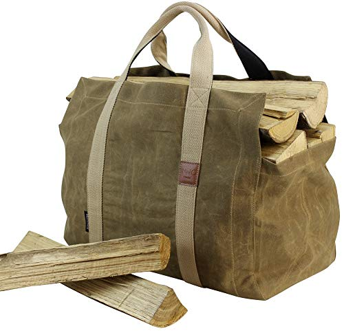 INNO STAGE 16oz Waxed Canvas Firewood Log Carrier Tote Bag Hay Hauling for Outdoor Camping with Double Straps for Reinforce  Both Inside and Outside