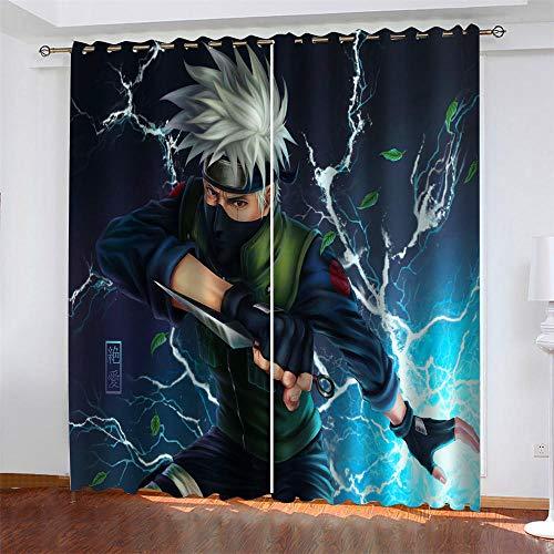 LLWERSJ Vorhänge Blickdicht Anime Naruto Kinder Vorhang Blickdicht Thermovorhang Verdunkelungsvorhänge mit Ösen für Wohnzimmer Schlafzimmer Kinderzimmer 2er Set B75x H166cm