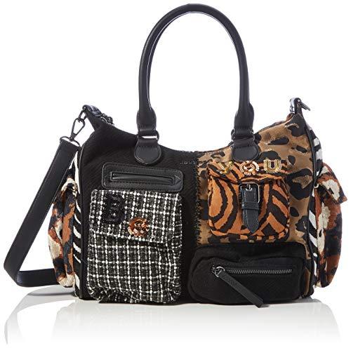 Desigual Accessories Fabric Shoulder Bag, Borsa a Tracolla. Donna, Nero, U