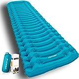 INVOKER Ultralight Inflatable Camping Sleeping Pad - Mat with Built-in Foot Pump, Lightweight 18.3OZ Compact Air Mattress, Best Sleeping Pads for Backpacking Travel Hiking Beach (Light Blue)