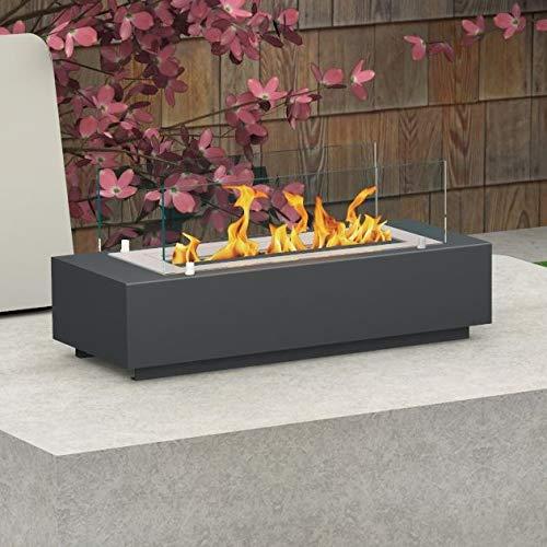 bergamo mobiletti – Bio-Ethanol Feuerstelle Tischkamin Ofen für innen außen - Sicherheitsbrenner 565- Größe 75 cm - Schwarzgrau