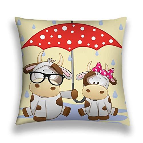 SSHELEY kussensloop met verborgen ritssluiting 18x18 inch, dubbelzijdige print, twee koeien paraplu wenskaart