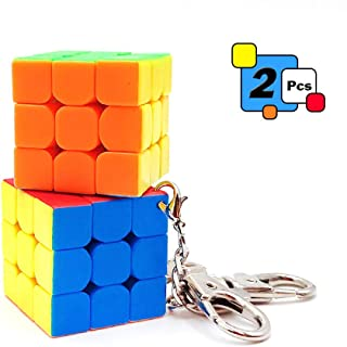 2 Pcs Mini 3x3 Cube Keychains, 1.18 Inch Speed Rubik's Key Ring