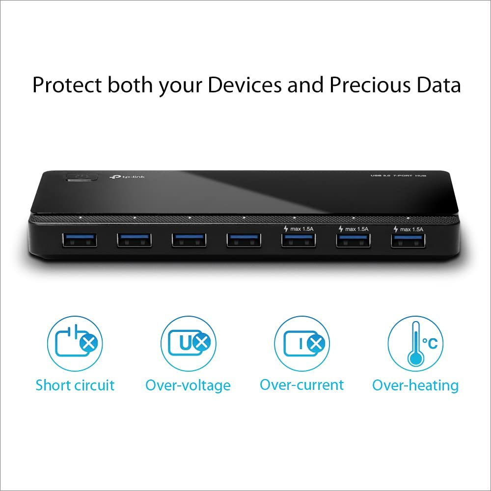 [2nd Gen] Tp-Link 7-Port USB 3.0 Ultra Slim Hub Including 3 BC 1.2 Charging Ports up to 5V, 1.5A with 24W Power Adapter for iMac MacBook Notebook Ultrabook Chromebook or Any PC