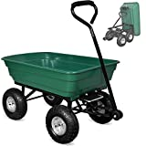 Deuba Garden Tipping Cart Dump Truck Wheelbarrow Trolley 300kg Tipper Trailer Green Heavy Duty Pneumatic Tyres 4 Wheel